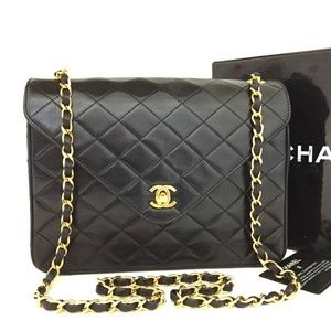 100% Auth CHANEL Lambskin Black Flap Shoulder Bag